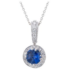 Peter Suchy 1.12 Carat Blue Sapphire Diamond Halo White Gold Pendant Necklace