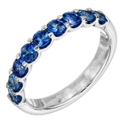 Peter Suchy 1.12 Carat Blue Sapphire Platinum Wedding Band Ring