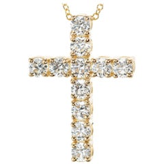 Peter Suchy 1.15 Carat Diamond Yellow Gold Cross Pendant Necklace