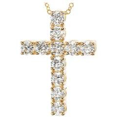 Peter Suchy 1.15 Carat Diamond Yellow Gold Cross Pendant Necklace