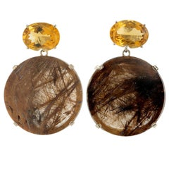 Peter Suchy 117.50 Carat Citrine Rutilated Quartz Gold Large Dangle Earrings