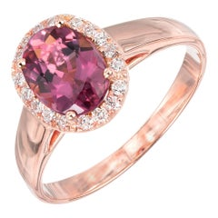 Peter Suchy 1.20 Carat Pink Tourmaline Diamond Halo Rose Gold Engagement Ring