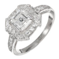Peter Suchy 1.21 Carat Asscher Cut Diamond Platinum Engagement Ring
