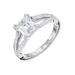 Peter Suchy 1.22 Carat Asscher Cut Diamond Split Shank Platinum Engagement Ring