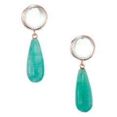 Peter Suchy 12.51 Carat Aqua Amazonite Rose Gold Dangle Earrings