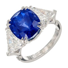 Peter Suchy 12.52 Carat Sapphire Diamond Three-Stone Platinum Engagement Ring