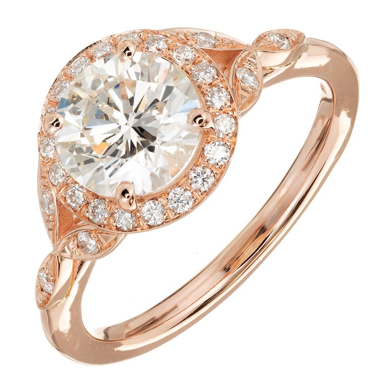 GIA Certified Peter Suchy 1.37 Carat Round Diamond Halo Gold Engagement Ring For Sale