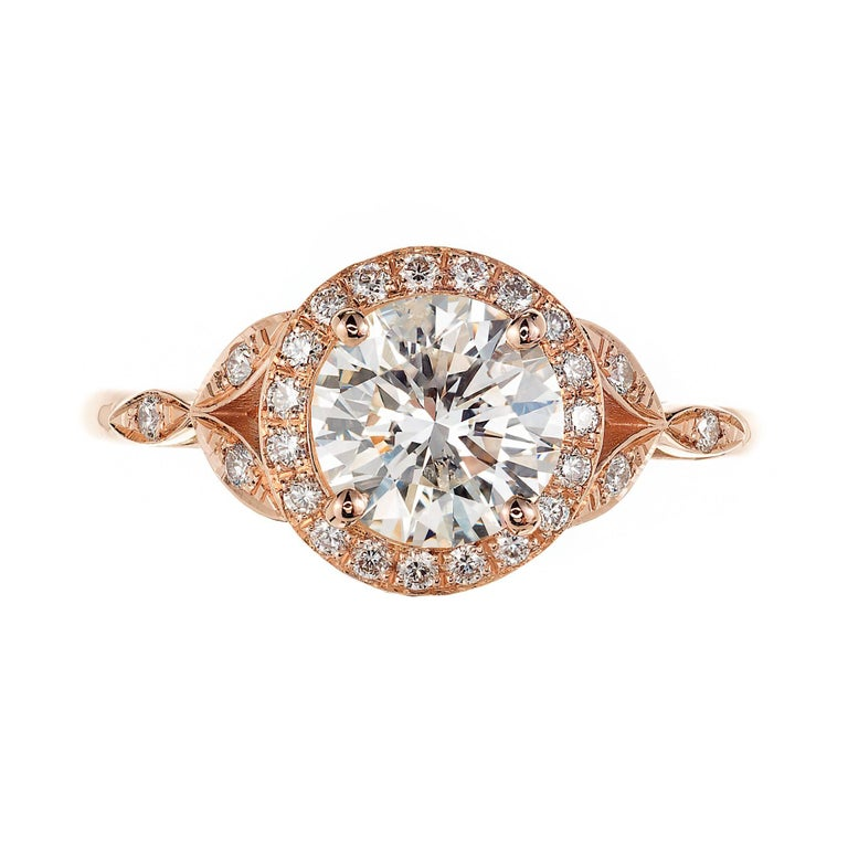 GIA Certified Peter Suchy 1.37 Carat Round Diamond Halo Gold Engagement Ring In Good Condition For Sale In Stamford, CT