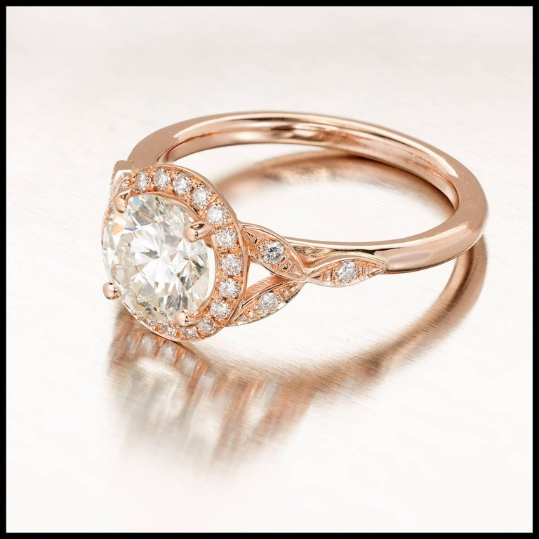 GIA Certified Peter Suchy 1.37 Carat Round Diamond Halo Gold Engagement Ring For Sale 1