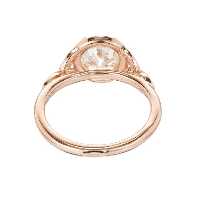 GIA Certified Peter Suchy 1.37 Carat Round Diamond Halo Gold Engagement Ring For Sale 4