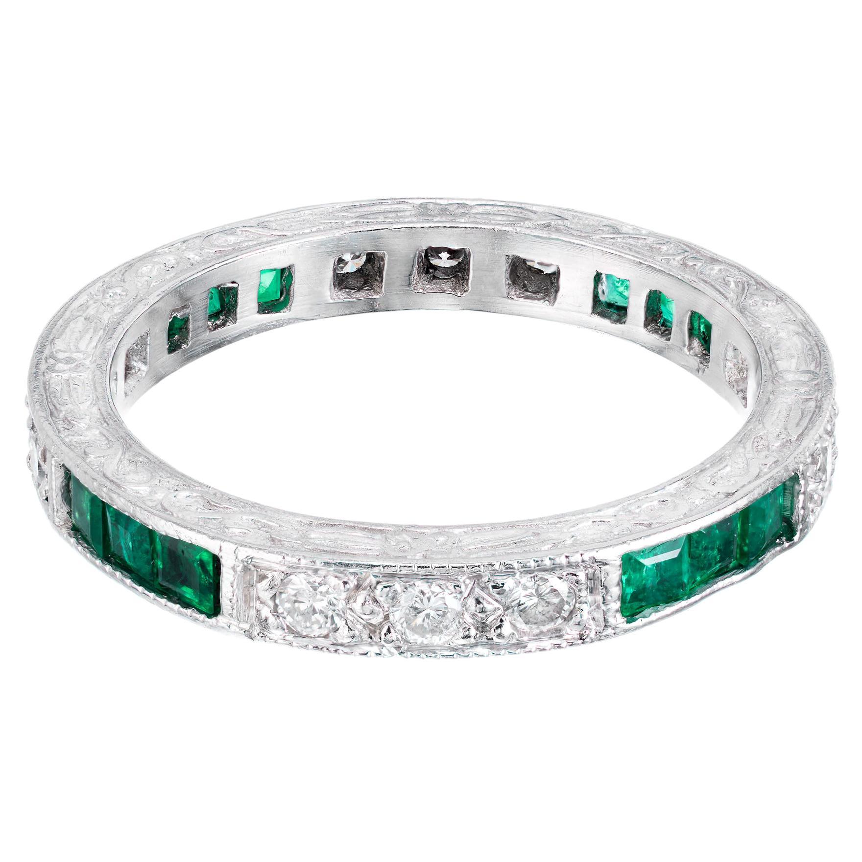 Peter Suchy 1.40 Carat Emerald Diamond Platinum Eternity Wedding Band Ring