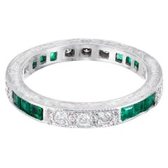Peter Suchy 1.40 Carat Emerald Diamond Platinum Eternity Wedding Band Ring