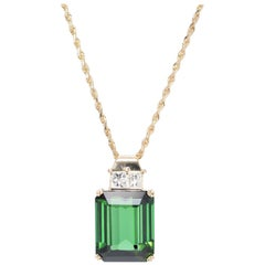 Peter Suchy 14.03 Carat Tourmaline Diamond Yellow Gold Pendant Necklace