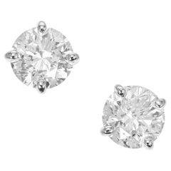 Peter Suchy 1.42 Carat Diamond Platinum Stud Earrings