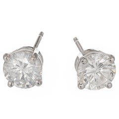 Peter Suchy 1.50 Carat Diamond Brilliant Cut White Gold Stud Earrings