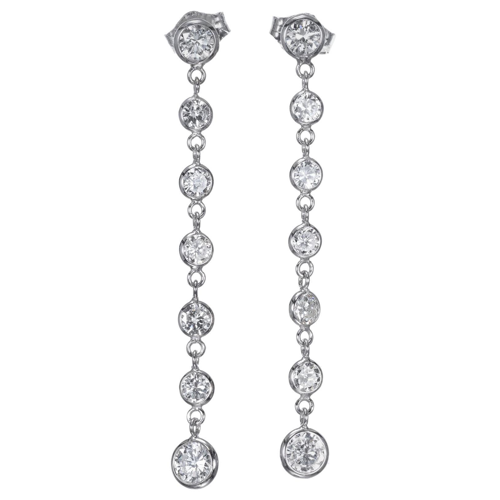 Peter Suchy 1.50 Carat Diamond Gold Dangle Drop Earrings