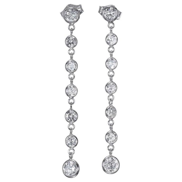 Peter Suchy 1.50 Carat Diamond Gold Dangle Drop Earrings For Sale