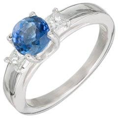 Peter Suchy 1.52 Carat Sapphire Diamond Platinum Three-Stone Engagement Ring