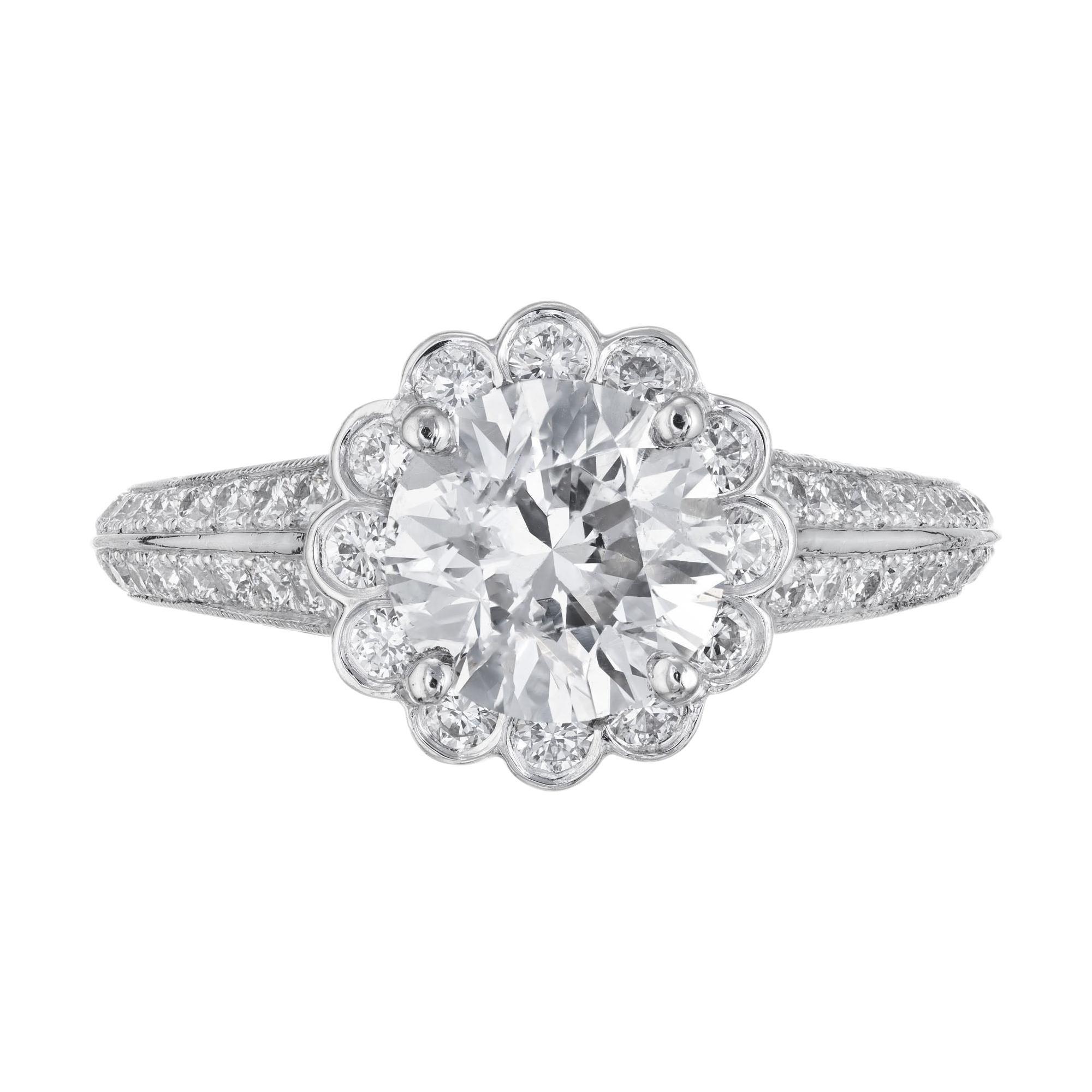 Peter Suchy 1.55 Carat Halo Diamond Platinum Engagement Ring