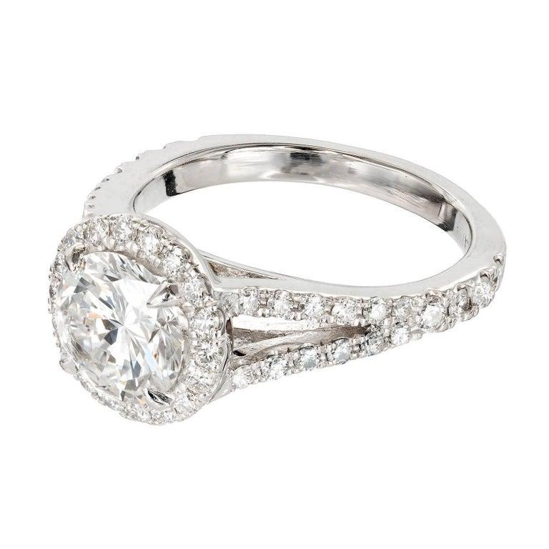 Round Cut Peter Suchy 1.55 Carat Round Diamond Halo Split Shank Platinum Engagement Ring For Sale