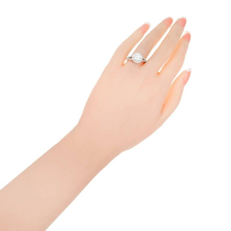 Peter Suchy 1.55 Carat Round Diamond Halo Split Shank Platinum Engagement Ring For Sale 1