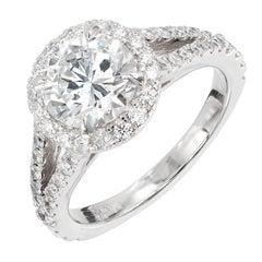 Peter Suchy 1.55 Carat Round Diamond Halo Split Shank Platinum Engagement Ring