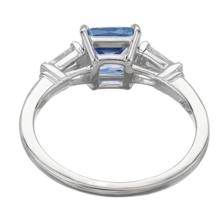 Peter Suchy 1.55 Carat Sapphire Diamond Platinum Three-Stone Engagement Ring In New Condition For Sale In Stamford, CT