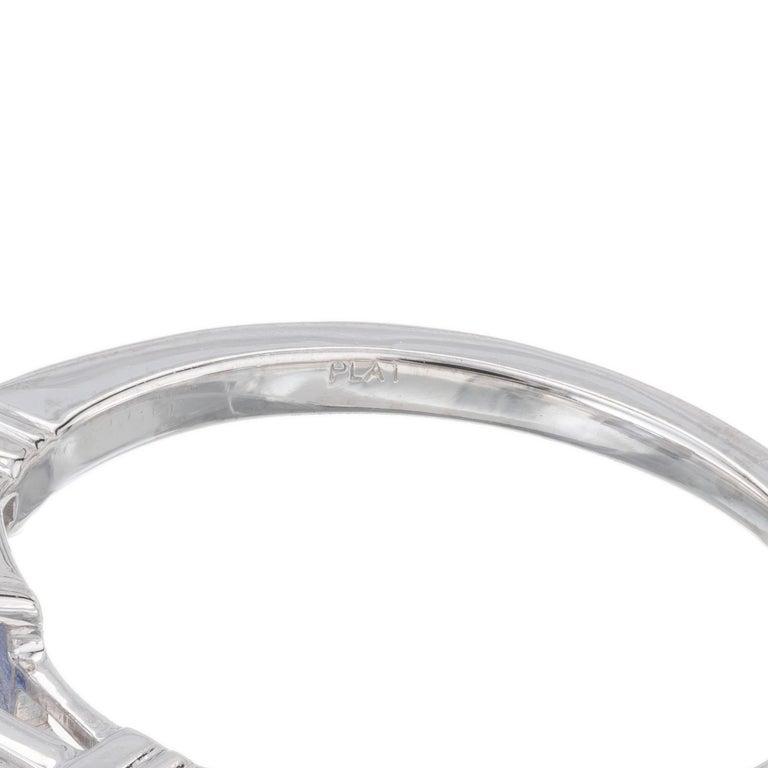 Women's Peter Suchy 1.55 Carat Sapphire Diamond Platinum Three-Stone Engagement Ring For Sale