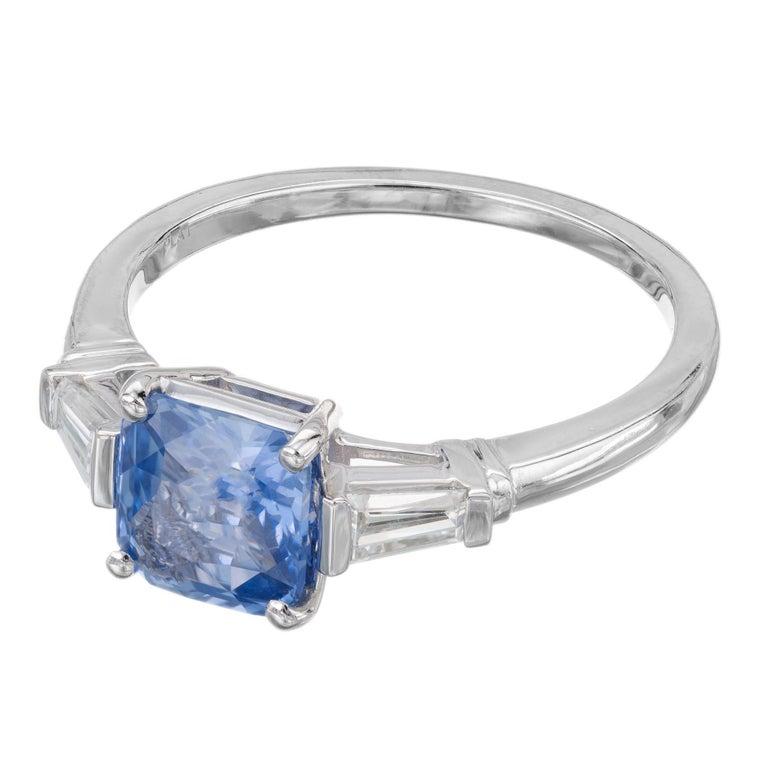 Peter Suchy 1.55 Carat Sapphire Diamond Platinum Three-Stone Engagement Ring For Sale 2