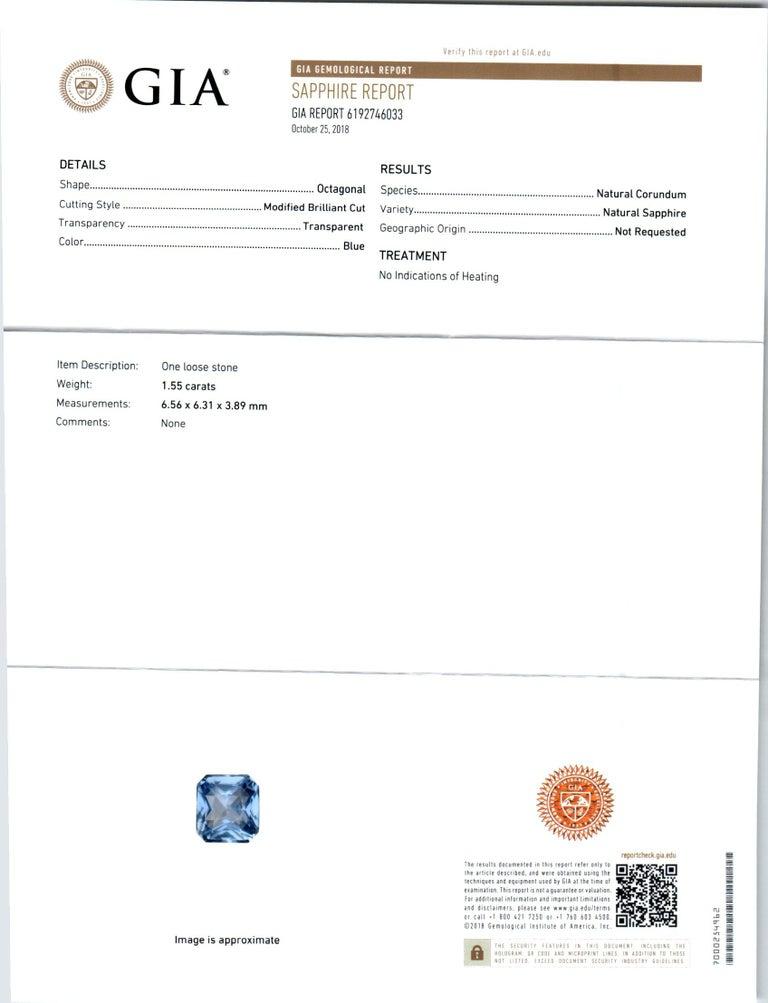 Peter Suchy 1.55 Carat Sapphire Diamond Platinum Three-Stone Engagement Ring For Sale 3