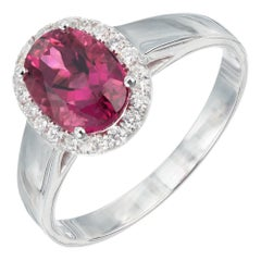 Peter Suchy 1.56 Carat Pink Tourmaline Diamond White Gold Engagement Ring