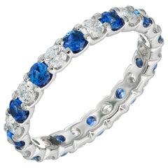Peter Suchy 1.59 Carat Blue Sapphire Diamond Platinum Eternity Band Ring