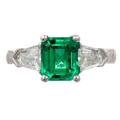 Peter Suchy 1.73 Carat Emerald Diamond Platinum Three-Stone Engagement Ring
