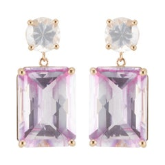 Peter Suchy 17.4 Carat Pink Topaz White Sapphire Yellow Gold Dangle Earrings