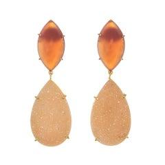 Peter Suchy 17.40 Carat Carnelian Agate Druzy Gold Dangle Earrings