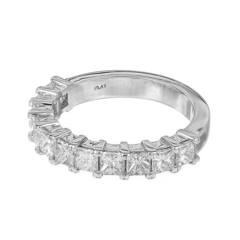 Modern Peter Suchy 1.75 Carat Princess Cut Diamond Platinum Wedding Band Ring For Sale