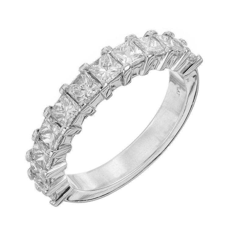 Peter Suchy 1.75 Carat Princess Cut Diamond Platinum Wedding Band Ring For Sale