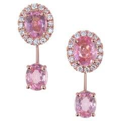Peter Suchy 1.80 Carat Pink Sapphire Diamond Rose Gold Dangle Drop Earrings