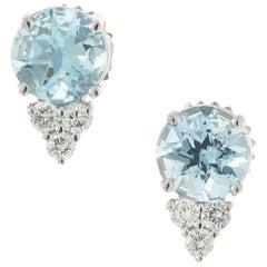Peter Suchy 1.87 Carat Aquamarine Diamond White Gold Earrings