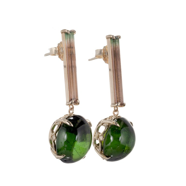 Peter Suchy watermelon tourmaline and oval green cabochon tourmaline dangle drop earrings in 14k yellow gold. Created in the Peter Suchy Workshop.   2 oval cabochon green tourmaline MI, approx. 16.56cts 2 rectangular watermelon tourmaline MI,