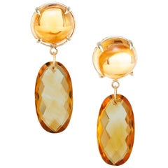 Peter Suchy 20.95 Carat Citrine Yellow Gold Dangle Earrings