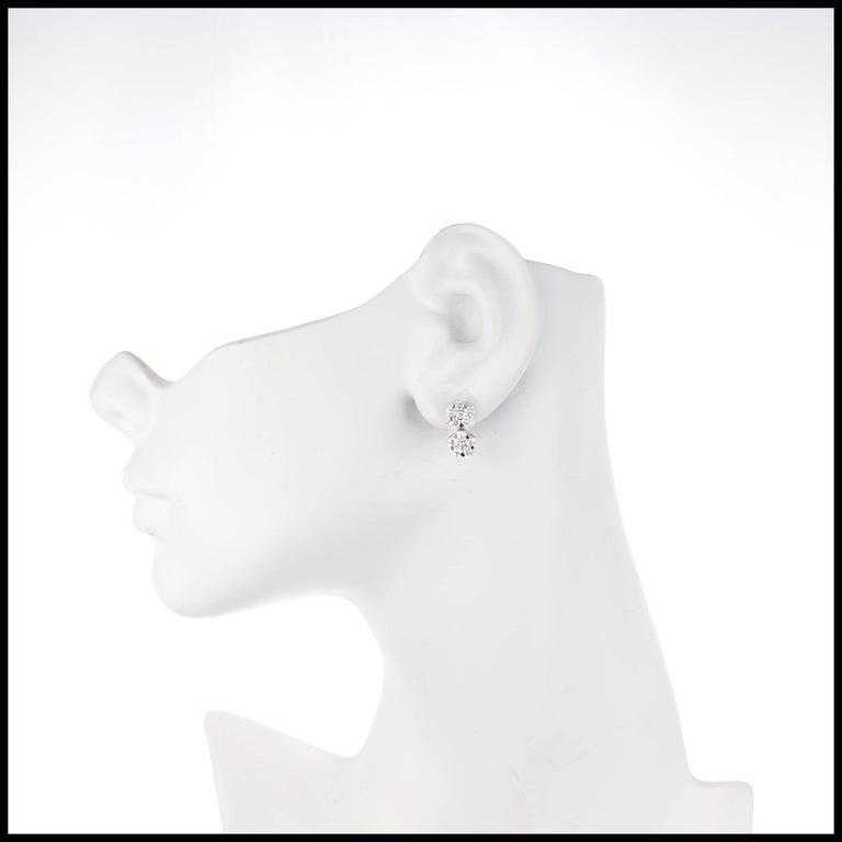 Peter Suchy 2.11 Carat Diamond White Gold Flower Cluster Dangle Earrings 1
