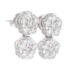 Peter Suchy 2.11 Carat Diamond White Gold Flower Cluster Dangle Earrings