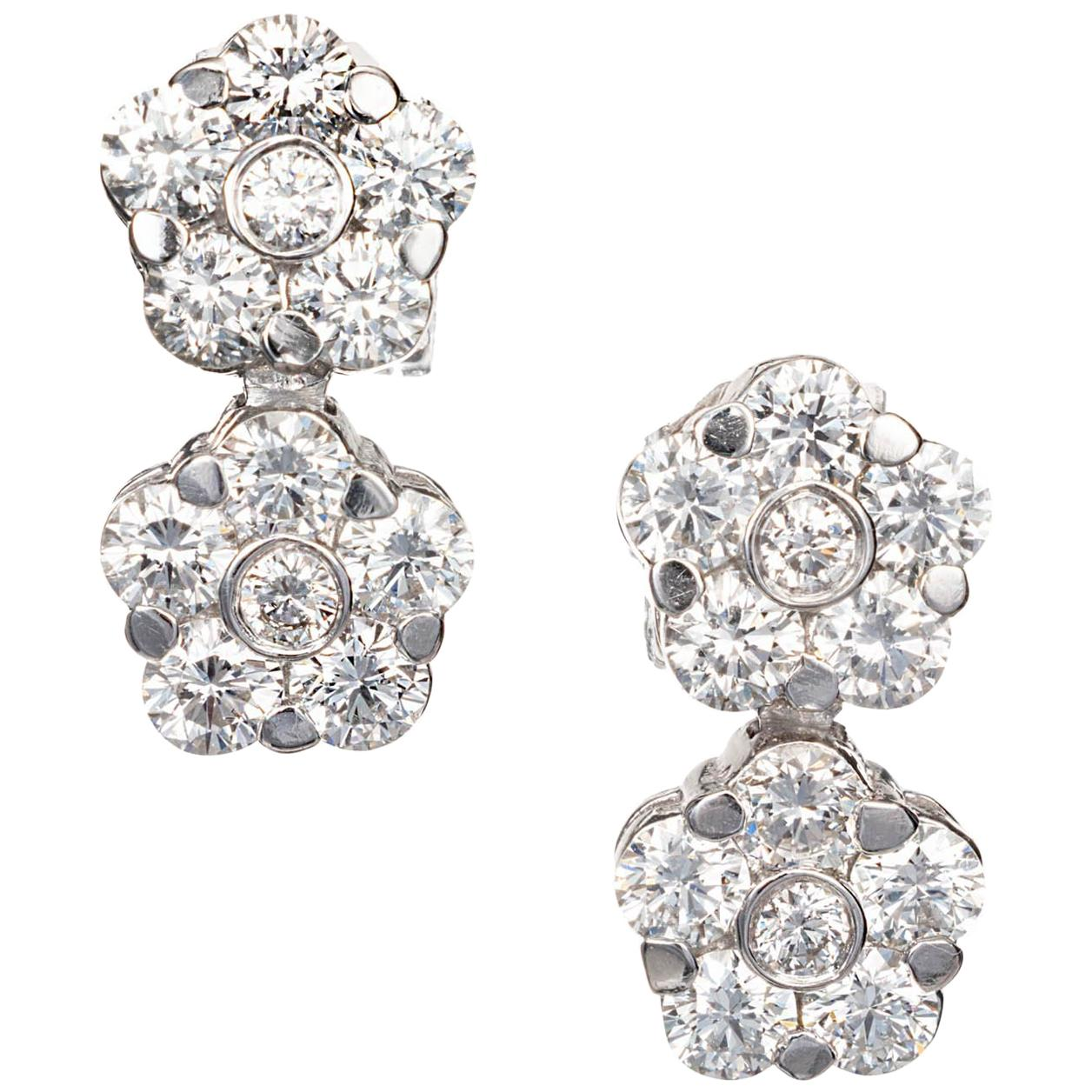 Peter Suchy 2.12 Carat Diamond Gold Double Cluster Dangle Earrings