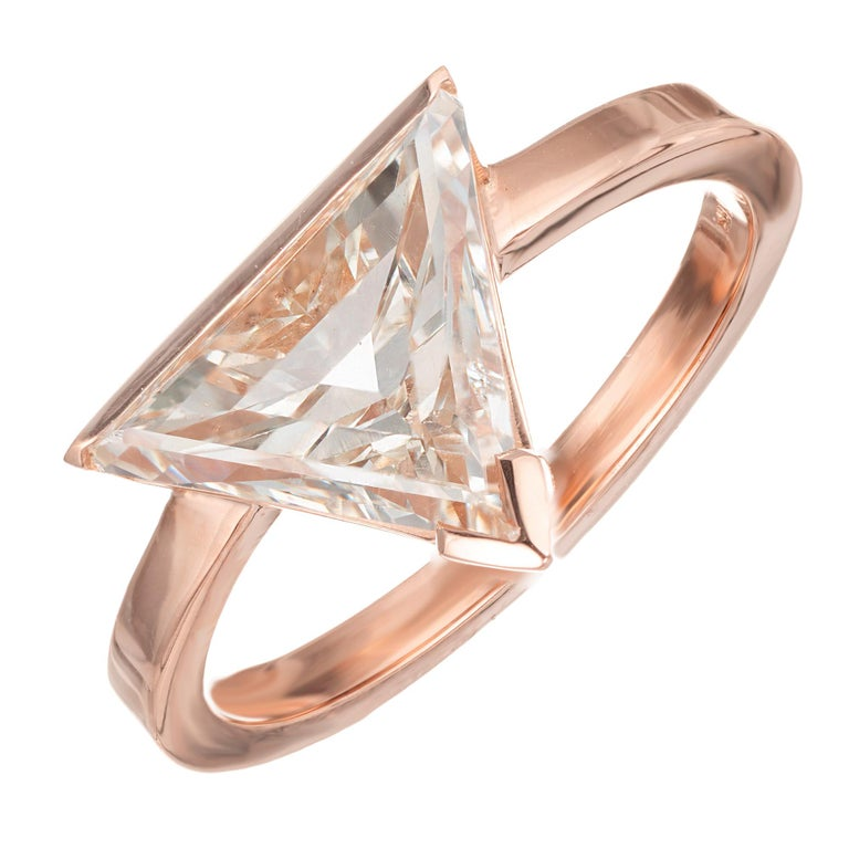 Engagement Rings Sale Rose Gold: Peter Suchy 2.12 Carat Diamond Rose Gold Modern Triangle