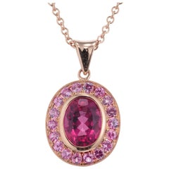 Peter Suchy 2.15 Carat Pink Tourmaline Pink Sapphire Rose Gold Pendant Necklace