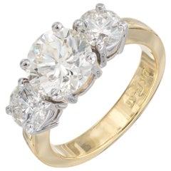 Peter Suchy 2.18 Carat Diamond Yellow Gold Platinum Three-Stone Engagement Ring