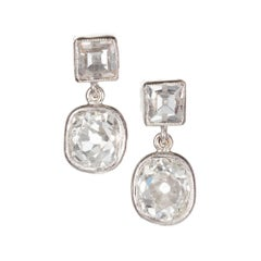 Peter Suchy 2.32 Carat Old Mine Cut Step Diamond Platinum Dangle Earrings