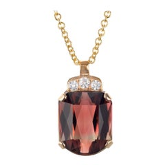 Peter Suchy 24.39 Carat Pink Tourmaline Diamond Yellow Gold Pendant Necklace