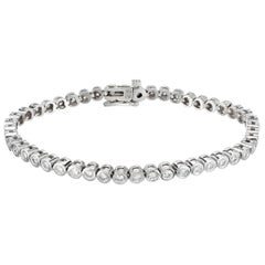 Peter Suchy 2.50 Carat Round Bezel Set Diamond Gold Tennis Bracelet